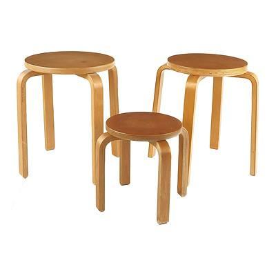Three Aalto Alvar Design Stools, Unmarked
