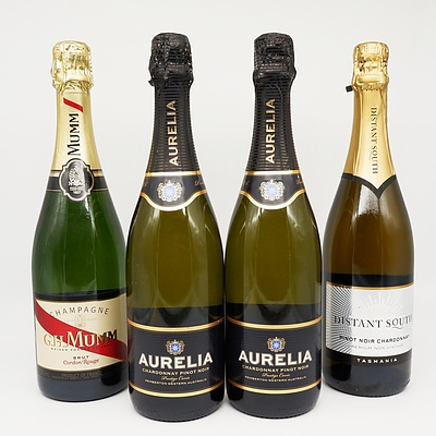 Group of Four Sparkling Wine/Champagne 750ml Bottles Including Aurelia Chardonnay Pinot Noir, G.H.Mumm Bruth Champagne and More