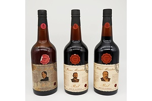 Lot of Three Prime Ministers Vintage Port Including 1980 Frances Michael Ford, 1979 John Watson and 1979 George Reid 750ml Bottles