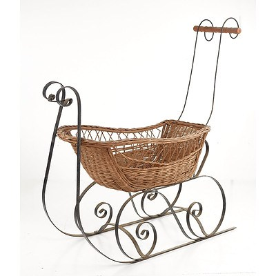 Wrought Iron and Wicker Sleigh Form Bassinette, Later 20th Century