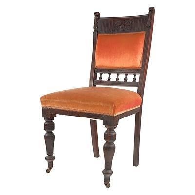 Edwardian Orange Fabric Upholstered Dining Chair