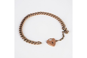 9ct Gold Lock and Gold Filled Chain