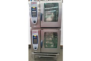 Two Rational SCC 61 Electric Self Cooking Centre Combi Ovens and Stand