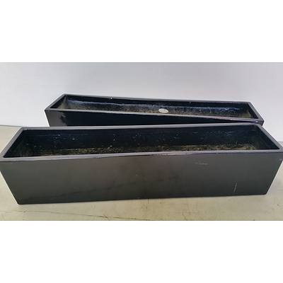 76cm Black Fiberglass Desk/Bench Top Planter Troughs - Lot of Two