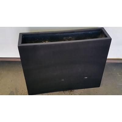 75cm Black Fiberglass Deep Planter Trough