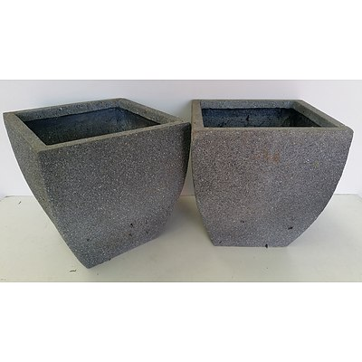 30cm Grey Concrete Fiberglass Deep Planters - Lot of Two
