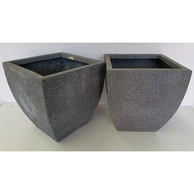 30cm Grey Concrete Fiberglass Deep Planters - Lot of Two