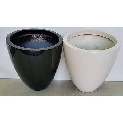 40cm Fibreglass Egg Indoor Planters - Lot of Two - Brand New