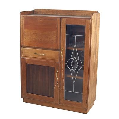 Tasmanian Oak Bureau Cabinet with Leadlight Glass Door Circa 1940s