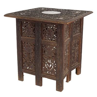 Vintage Indian Carved and Pierced Sandalwood Folding Table