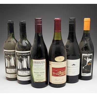 Case of 6x Various Pinot Noir 750ml Bottles Including Pennyweight, Mr Frog, Gisborne Peak and More