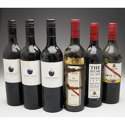 Case of 6x Various Shiraz 750ml Bottles Including Stone Circle and D'Arenberg