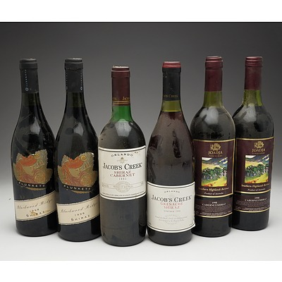 Case of 6x Various Shiraz 750ml Bottles Including Jacob's Creek, Joadja Vineyard and Plunkett