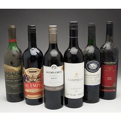 Case of 6x Various Mixed Wine 750ml Bottles Including Campbells Rutherglen Durif, Jacob's Creek Merlot and More