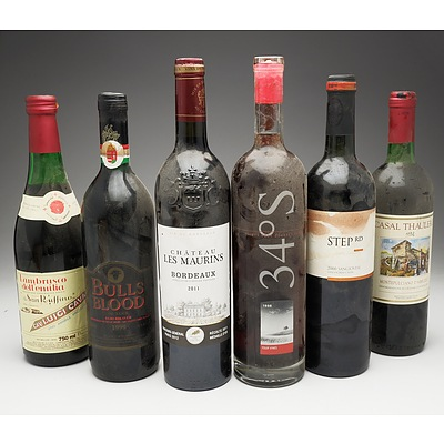 Case of 6x Various Mixed Wine 750ml Bottles Including Step RD Sangiovese, Chateau Les Maurins Bordeaux and More