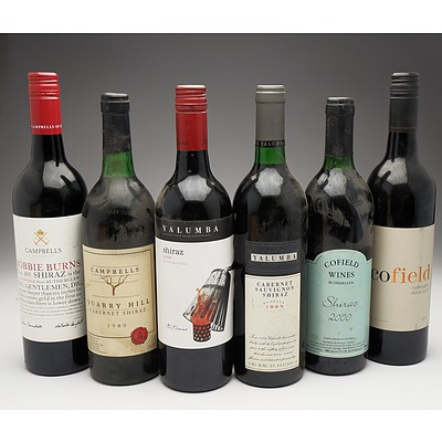 Case of 6x Various Shiraz 750ml Bottles Including Cofield Wines, Campbells and Yalumba