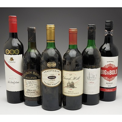 Case of 6x Various Shiraz 750ml Bottles Including D'Arenberg, Brown Brothers, Mildara Wines and More