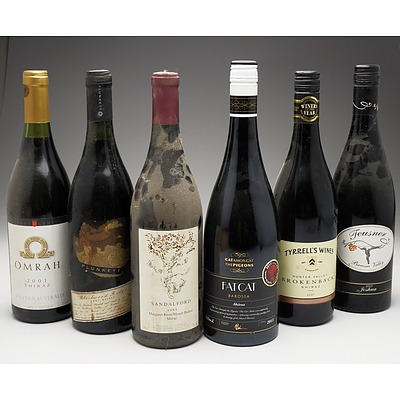 Case of 6x Various Shiraz 750ml Bottles Including Tyrell's Wines, Sandalford, Plant Genet and More