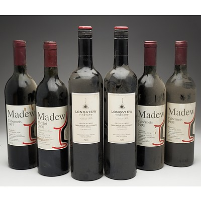 Case of 6x Various Mixed Wine 750ml Bottles Including Madew Merlot, Madew Cabernets and Longview Vineyard Cabernet Sauvignon