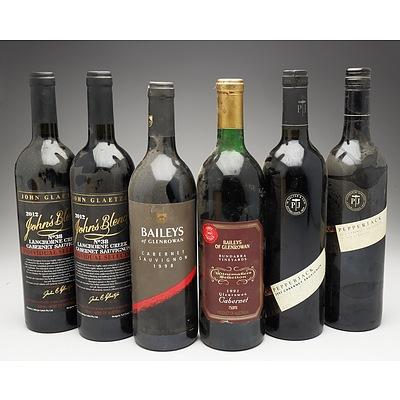 Case of 6x Mixed Cabernets 750ml Bottles Including Baileys of Glenrowan, John Glaetzer and Pepperjack