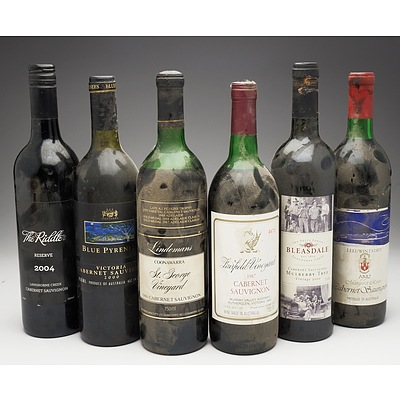 Case of 6x Cabernet Sauvignon 750ml Bottles Including Lindermans, Blue Pyrenees, Fairfield Vineyard and More