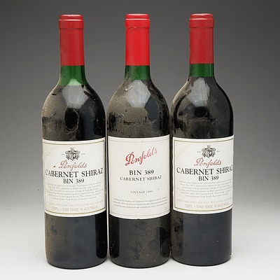 Three Bottles of Penfolds Bin 389 Cabernet Shiraz 750ml