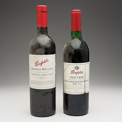One Bottle of Penfolds Old Vine Shiraz Grenache Mourvedre Bin 138 Vintage 1998 and One Bottle of Penfolds Thomas Hyland Cabernet Sauvignon Vintage 2001 750ml