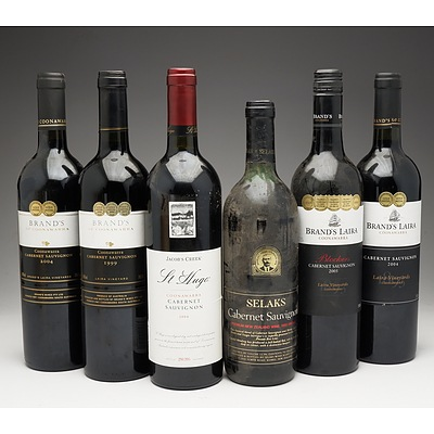 Case of 6x Cabernet Sauvignon 750ml Bottles Including Brand's, Brand's Laira, Jacob's Creek and Selaks