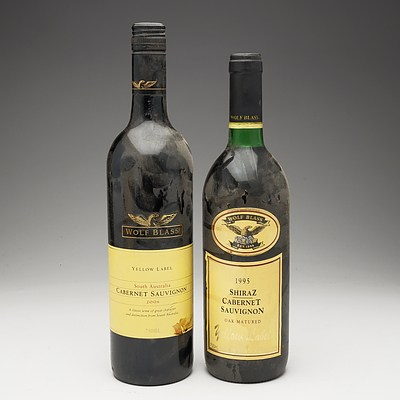 One Bottle of Wolf Blass Yellow Label 1996 Shiraz Cabernet Sauvignon 750ml and One Bottle of Wolf Blass Yellow Label 2006 Cabernet Sauvignon 750ml