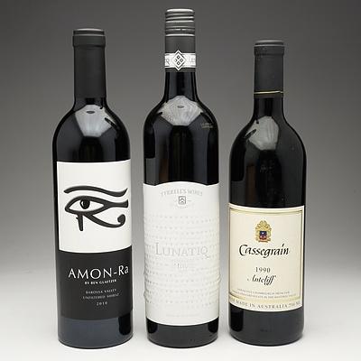 One Bottle of Tyrell's Wines Lunatiq 2009 Shiraz 750ml, One Bottle of Amon-Ra 2010 Unfiltered Shiraz 750ml and One Bottle of Cassegrain 1990 Antcliff 750ml