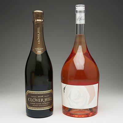 One Bottle of All Saints 2018 Rosa 1.5 Litre Bottle and One Bottle of Clover Hill Vintage 2006 Champagne 750ml