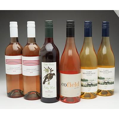 Case of 6x Mixed Wine 750ml Bottles Including Lerida Estate Pinot Noir Rose, Lake Moodemere Estate Tiara and More
