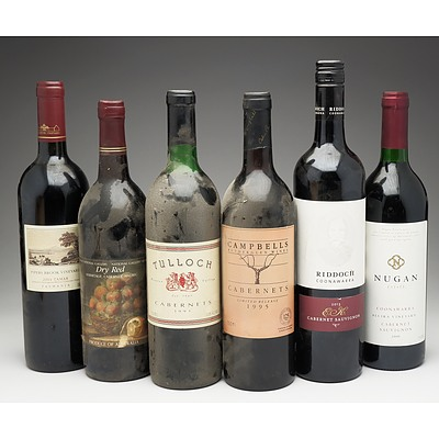 Case of 6x Mixed Wine 750ml Bottles Including Tulloch Cabernets, Campbells Rutherglen Wines Cabernets and More