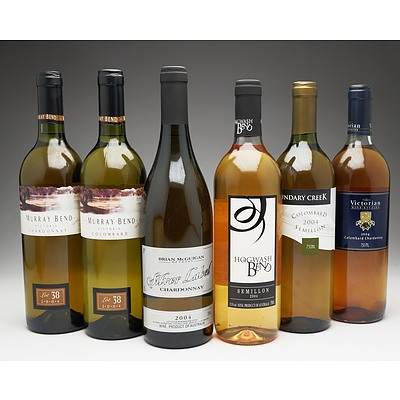 Case of 6x Mixed White Wine 750ml Bottles Including Boundary Creek Colombard Semillion, Murray Bend Colombard and More