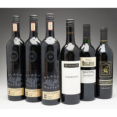 Case of 6x Mixed Red Wine 750ml Bottles Including Black Wattle Shiraz, Drayton's Bellevue Cabernet Sauvignon Shiraz and More