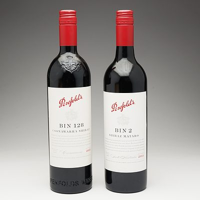 One Bottle of Penfolds Bin 2 2013 Shiraz Mataro 750ml and One Bottle of Penfolds Bin 128 2015 Coonawarra Shiraz 750ml