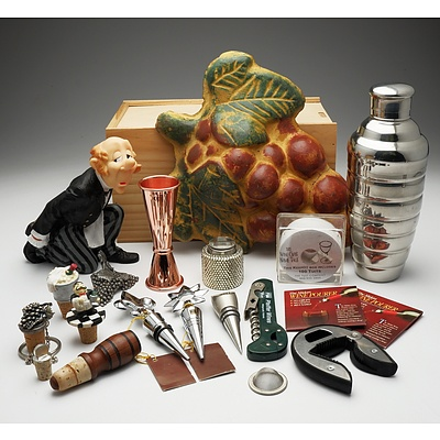 Large Group of Barware Including Wine Bottle Holder, Cork Screws, Cocktail Shaker and More