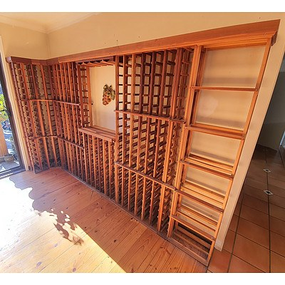 Modular Wooden Wine Racks System Holding 500+ Bottles