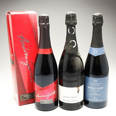 Three 750ml Bottles of Sparkling Shiraz Including Andrew Garret, Rutherglen Estates and Cassegrain