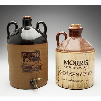 Two Large Stoneware Decanters of Port Including Pfeiffer Wines and Morris of Rutherglen