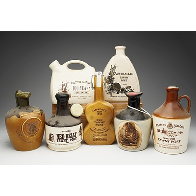 Group of Seven Tawny Port Stoneware Decanters
