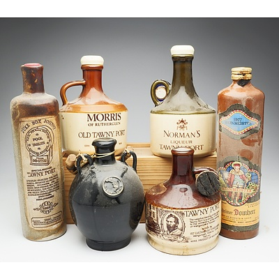 Group of Six Various 750ml Port and Wine Stoneware Decanters