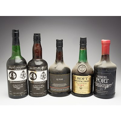 Group of Five Various 750ml Ports
