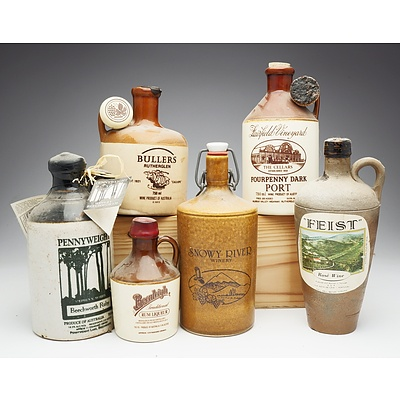 Group of Six Various Port, Rum and Rose Wine Stoneware Decanters