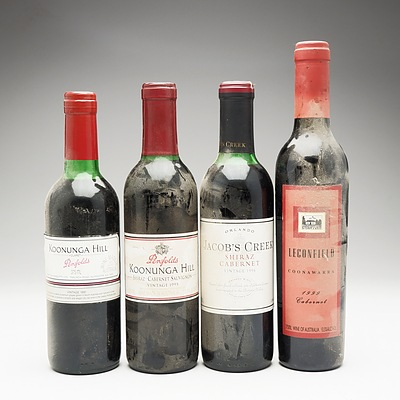 Group of Four 375ml Various Red Wines Including Penfolds, Jacobs Creek and Lecinfield