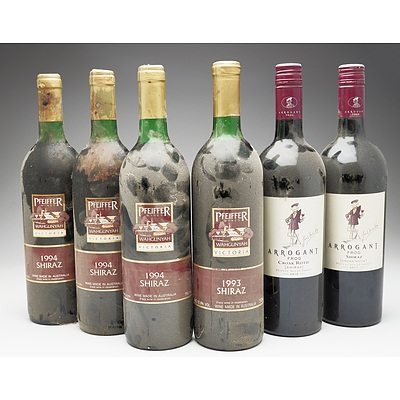 Case of 4x Pfeiffer Wines Shiraz 750ml and 2x Arrogant Frog Shiraz 750ml