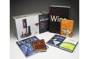 Rabbit Electric Wine Set and Six Wine/Spirits Books