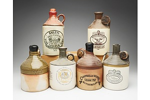 Group of Six Port Stoneware Decanters Including Brown Brothers, Campbell's Wines and Baileys of Glenrowan