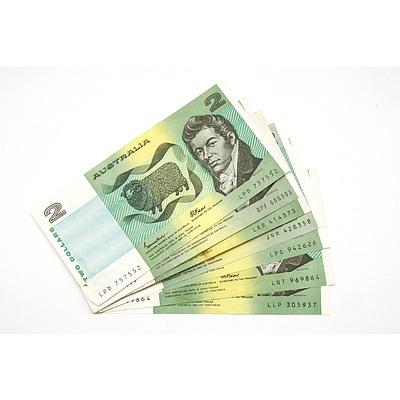 Seven Australian $2 Notes, Knight/Stone, Johnston/ Fraser and Phillips/ Randall