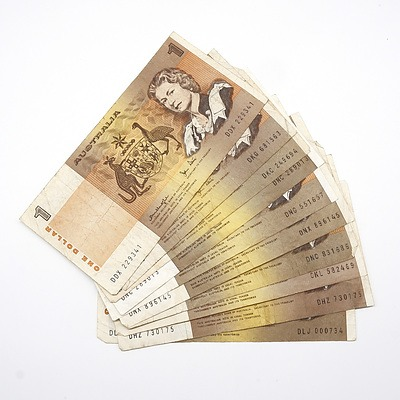 Ten Australian $1 Notes, Johnston/ Stone, Knight/ Wheeler and Knight/Stone
